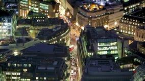 Deposite la ciudad de la calle de la opinión aérea de la noche de Londres, GB metrajes