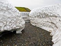 Depositi detritici della neve in estate su nuovo sbarco Immagine Stock