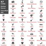 Depositi ed insieme online dell'icona degli annunci classificati Immagini Stock Libere da Diritti