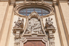 Deposition of Christ tympanum in Milan, Italy Stock Images