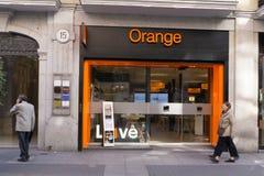 Deposito arancio di telecomunicazioni Fotografie Stock Libere da Diritti