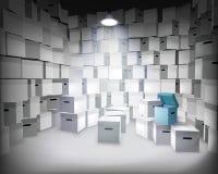 Deposito con le scatole Illustrazione di vettore Fotografia Stock