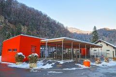 Deposito del complesso della miniera di sale nell'inverno Bex in Svizzera Fotografia Stock Libera da Diritti