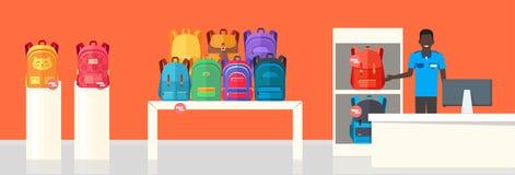 Deposito della borsa di scuola Due venditori che offrono gli zainhi royalty illustrazione gratis
