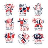 Deposito della carne, insieme del modello di logo dello steakhouse, illustrazioni disegnate a mano variopinte di vettore royalty illustrazione gratis