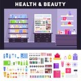Deposito di bellezza con i cosmetici sugli scaffali Fotografia Stock