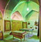 Deposito di Kilim nel castello di Rayen, Iran Fotografia Stock