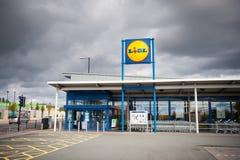 Deposito di Lidl a Manchester, Regno Unito Immagine Stock