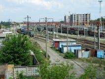 Deposito di treni Fotografie Stock