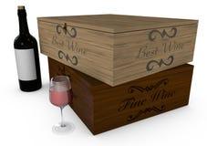 Deposito di vino, della bottiglia e del vetro Fotografia Stock