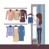 Deposito e donna con l'illustrazione di vettore dei vestiti illustrazione di stock