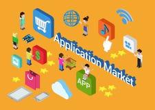 Deposito mobile di app del mercato di applicazione di concetto isometrico piano 3d illustrazione vettoriale