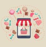 Deposito online del negozio dolce Fotografia Stock