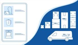 Deposito online di consegna online del magazzino delle merci di ordine illustrazione vettoriale