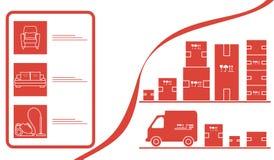 Deposito online di consegna online del magazzino delle merci di ordine illustrazione di stock