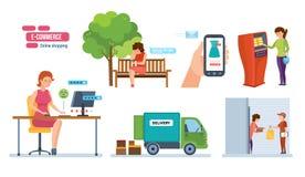 Deposito, pagamento di ordine, consegna, ricevuta di ordine, risposte, valutanti illustrazione vettoriale