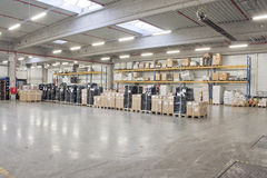 Depository. Empty warehouse shelf with modern decoration Stock Photography