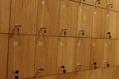 Depository lockers wooden Royalty Free Stock Photos