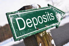 Deposits road sign Stock Images