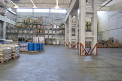 Depot. Inside of huge,light warehouse Royalty Free Stock Photos