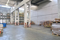 Depot. Inside of huge,light warehouse Stock Photography