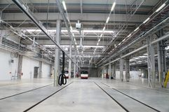 Depot for buses. New depot hall for buses nearly empty Royalty Free Stock Photography