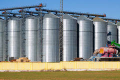 Depot territory with agricultural  storage  buildings Royalty Free Stock Photo