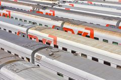 Depot of trains, parking of wagons stock photos