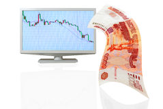 Depreciación del comercio del intercambio de la rublo. Foto de archivo