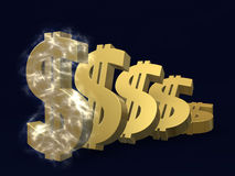 Depreciation of the dollar. Golden symbol of the fall of the dollar in series on the plane on a blue background in electrical discharge Stock Images