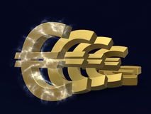 Depreciation of the euro. Golden symbol of the fall of the euro in series on the plane on a blue background in electrical discharge Stock Photography