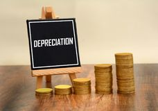 Depreciation Sign with currency gold coins stack Royalty Free Stock Photo