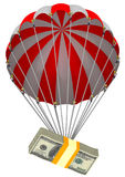 The depreciation of the US dollar. A pack of American dollars descends on a parachute. Isolated. 3D Illustration Royalty Free Stock Image