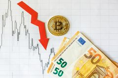 Depreciation of virtual money bitcoin. Red arrow and on euro bills and on paper forex chart index background. Concept of stock photo
