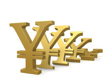 Depreciation of the yen. Gold symbol yen falling consistently on plane isolated on white background Stock Photography