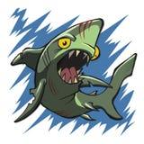 Depredador de la criatura del tiburón del zombi del mar stock de ilustración