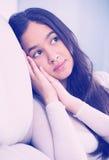Depresión de la muchacha del adolescente en casa Imagen de archivo