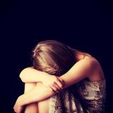 Depresión de la mujer joven Imagen de archivo libre de regalías