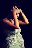 Depresión y tensión de la mujer embarazada Fotografía de archivo libre de regalías