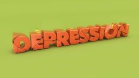 depresión del texto 3d Imagen de archivo