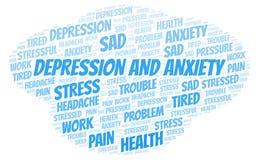 Depresja I niepokoju słowa chmura royalty ilustracja