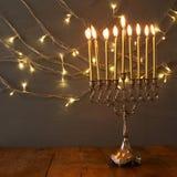 Depresja kluczowy wizerunek żydowski wakacyjny Hanukkah tło zdjęcia stock