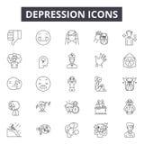 Depresja kreskowe ikony dla sieci i mobilnego projekta Editable uderzenie znaki Depresja konturu pojęcia ilustracje ilustracja wektor