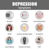 Depresja objawów infographic pojęcie zdjęcia stock
