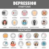 Depresja objawy i traktowanie ikony zdjęcie royalty free