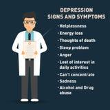Depresja objawy i znaki Lekarka z medycznym schowkiem Opieka zdrowotna plakata szablon royalty ilustracja