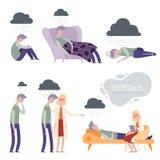 Depresja Samotny nieszczęśliwy sfrustowany wektorowy charakter, osamotniony przygnębiony sen, psycholog terapia ilustracji