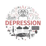 Depresja sztandar Infographic objawy, traktowanie Kreskowe ikony ustawiać również zwrócić corel ilustracji wektora Obrazy Stock