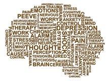 Depresji mózg tekst Fotografia Royalty Free