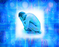 depresji mężczyzna ogólnospołeczna technologia Fotografia Stock